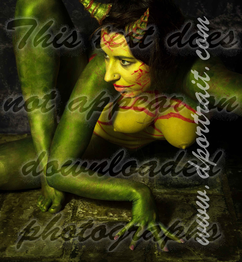 Alice - lizard body paint nudes